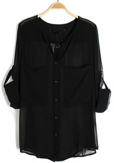 Black Sashes Lapel Long Sleeve Pockets Chiffon Blouse