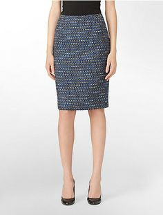 modern tweed textured suit skirt | Calvin Klein