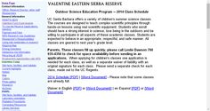 Valentine Eastern Sierra Reserve Outdoor Science Education Class Schedule