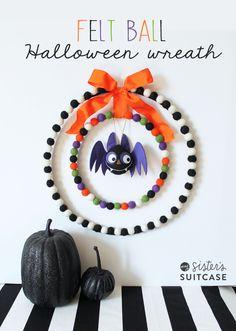 Halloween Felt Ball Wreath