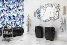 DIAMOND BATHTUB& FREESTAND.VENICE MIRROR. #bocadolobo #furniture #portugalfurniture #decor #designinterior