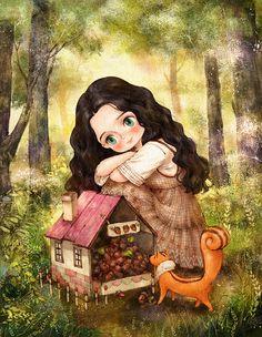 "❥Deja Mallory❥ ""The Diary of a Forest Girl"" by Aeppol. Art And Illustration, Illustrations, Creation Photo, Forest Girl, Korean Artist, Anime Art Girl, Manga Art, Cute Drawings, Cute Art"