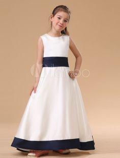 Branco sem mangas arco faixa vestido de cetim dama de honra Júnior - Milanoo.com