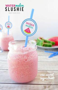 Watermelon Slushie recipe with one secret ingredient Juice Smoothie, Smoothie Drinks, Smoothie Recipes, Nutribullet Recipes, Drink Recipes, Coctails Recipes, Protein Smoothies, Milkshake Recipes, Blender Recipes