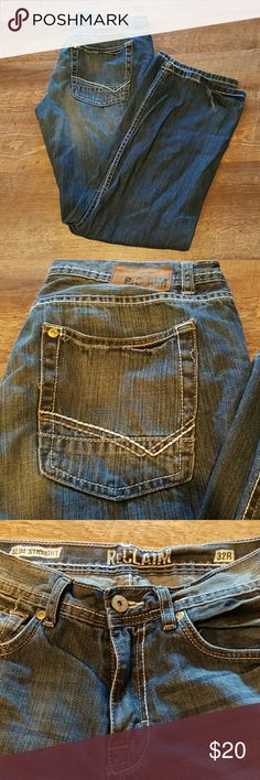 Reclaim Men's Jeans Barely worn, like new condition Buckle Reclaim Men's Jeans. No tears or fraying.  Denim blue with stitched design on back pockets. 32R slim straight. Great addition to any men's wardrobe.   Nonsmoking home. All reasonable offers accepted. Bundle discount available. Buckle Jeans Slim Straight