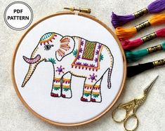 Elephant Embroidery Pattern PDF Embroidery Pattern Animal | Etsy Learn Embroidery, Hand Embroidery Designs, Embroidery Patterns, Gifts Love, Craft Kits, Digital Pattern, Elephant Gifts, Etsy, Pdf