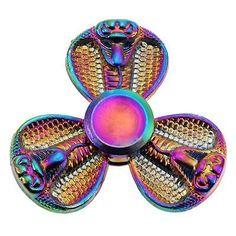 Snake-Spinner-Python-Rainbow-Tri-Spinner-Fidget-Toy-Metal-Fast-Rotation-EDC-Gyr