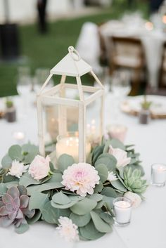 Triunfo creek vineyard wedding reception tables, lantern centerpiece