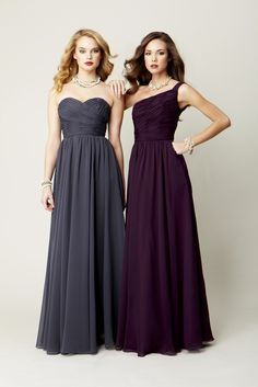 Perfect for your upcoming fall wedding, these chiffon full length bridesmaid dresses are a gorgeous choice! Kennedy Blue Bridesmaid Dress Julia (right) and Emma (left)| www.KennedyBlue.com