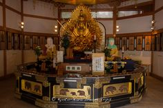 "Inside the Manpai-do Hall (萬拝堂と), part of the Tō-dō (東塔, ""East Pagoda"") complex of Enryaku-ji Temple (延暦寺) on Mt.HieiZan (比叡山) in Ōtsu, Japan. It is on a little plateau must before you reach the Konpon Chu-Do (根本中堂) and there is a space to sit down and consume food and drink."