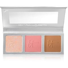 Previously at QVC only, now NEW at Ulta! It Cosmetics CC+ Radiance Palette 38.00 your one stop for color correcting, brightening, bronzing, and blushing. Each anti-aging powder includes color correcting pigments that enhance and even-out the appearance of your natural skin tone while adding the perfect sun-kissed bronze, the complexion brightening blush, and an all over-skin brightening radiance that will boost the warmth and radiance of your skin while blurring the look of fine lines and…