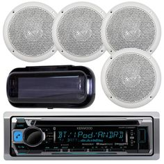 "Kenwood KMR-D365BT In-Dash Marine Audio Bluetooth Receiver Bundle Combo With 2 Pairs Of Magnadyne AquaVibe WR45W 5"" Marine Hot Tub Outdoor Waterproof Speaker + Waterproof Receiver Shield Cover. PACKAGE BUNDLE KIT INCLUDES: 1 Kenwood KMRD365BT Bluetooth Marine CD/MP3/WMA Player Bluetooth SiriusXM Radio Ready Stereo Marine Boat Yacht Receiver = 2 Pairs (Total of 4) Magnadyne AquaVibe Series WR45W 5 Inch Marine Hot Tub Shower Outdoor Waterproof Speaker = 1 Pyle PLMRCB1 Black Marine Boat Car..."