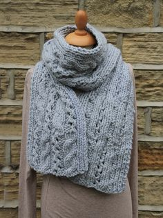 Lace Cable Scarf - Knit this accessory chunky scarf designed exclusively for Knitrowan by Martin Storey. Using one of our most popular yarns Big Wool (wool), this longer length scarf has a simple cable and lace all over pattern.