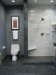 love the slate blue carried from floor tiles to shower floor mini tiles to shower surround to wall paint... offsets crisp white shower walls and bath fixtures... note space-saving use of corner inset shower seat and shelves