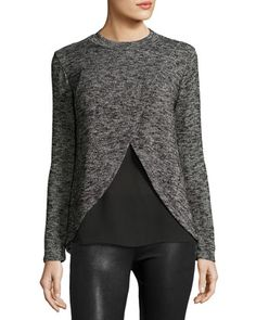 Layered+Crewneck+Sweater,+Black/Multi+by+Casual+Couture+at+Neiman+Marcus+Last+Call.