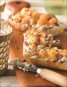Cantaloupe, Prosciutto and Goat Cheese Bruschetta - an easy, summery appetizer with a sweet and savory bite.