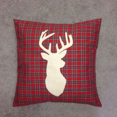 Red Tartan Cushion Pillow Cover White Stag Deer Head Animal Design Reindeer Contemporary Modern Christmas 14 16 18 20 22 24 inch size