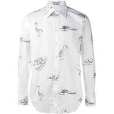Alexander Mcqueen Alexander Mcqueen Victorian  Skeleton Print Shirt ($445) ❤ liked on Polyvore featuring men's fashion, men's clothing, men's shirts, men's casual shirts, mens cutaway collar dress shirts, mens skeleton shirt, mens victorian shirt, mens long sleeve shirts and mens longsleeve shirts