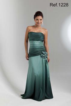 Vestido de Festa Longo verde degrade tomara que caia de tafetá drapeado com flor - 1228