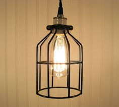 Auburn. Industrial Cage Inspired PENDANT Light with Edison Bulb :: #69 | LampGoods @ Etsy :: I like. | #cagelamp #industrial