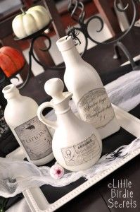 "I've been working on spookifying my house for Halloween, and my favorite look has to be the vintage Halloween style. It's somehow creepier if it's old, right? Here's how you can take ordinary household items and create vintage ""potion"" bottles for creepy ingredients like eye of newt and arsenic. And with a simple coat of …"