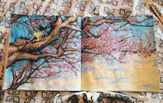 The Time Garden adult coloring book tree