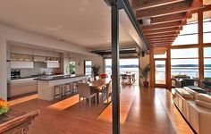 Heavenly Greenhouse Design with Wooden Deck: Breezy Home Interior With Luxurious Wooden Grid Ceiling