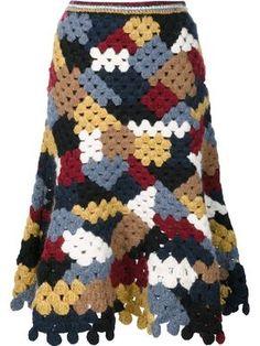How to Crochet a Little Black Crochet Dress - Crochet Ideas Rosetta Getty Patchwork Crochet Skirt In Crochet Woman, Love Crochet, Crochet Motif, Hand Crochet, Crochet Hooks, Crochet 101, Crochet Patterns, Crochet Ideas, Black Crochet Dress