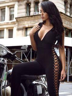 Giana Deep V Lattice Detail Black Bandage Jumpsuit