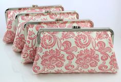 Pink Floral Pattern Bridesmaids Clutches / Pink Damask от FAbridal