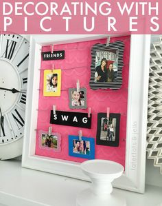 Decorating with pictures! Grab these cute, free printable frames too! -- Tatertots and Jello