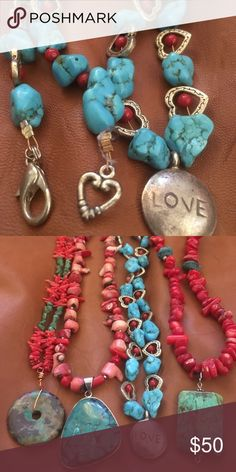 Shop Women's size OS Necklaces at a discounted price at Poshmark. Beaded Tassel Necklace, Turquoise Necklace, Jewelry Necklaces, Red Coral, Jewelry Making, Pretty, Closet, Fashion Tips, Accessories