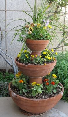 stacked pots - makes a large impression from small plants