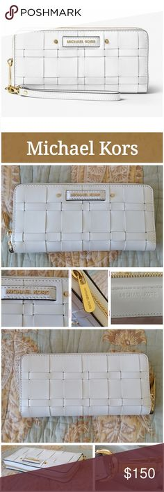 "NWT Michael Kors Vivian Wallet! Leather and a woven finish combine for chic texture on our Vivian wallet.  Detachable wristlet strap. Rely on it day to dark for a dose of downtown chic.  Excellent condition.  Never used.  Smoke free home. LOC CL8  -Optic White -100% Leather -Gold Tone Hardware -8.5""W X 4.25""H X 1""D (approximate) -Interior: Zip Pocket, 3 Pockets, 16 Card Holders, ID window -Exterior: Detachable Wristlet -Wrap Around Zipper Closure -Lining: 100% Polyester Michael Kors Bags…"