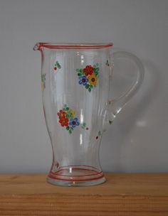 vintage glass jug with painted flowers by Lost Property Vintage