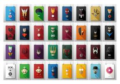Álbum: Capitão América, Thor, Hulk, Homem de Ferro, Homem Aranha, Venom, Wolverine, Ciclope, Deadpool, Super Homem, The Flash, Lanterna Verde, Demolidor, Deathstroke, Batman, Nightwing, Coringa, Hell Boy, Hit-Girl, Kick-Ass, Caveira Vermelha, Spawn, Darth Vader, Stormtrooper, Luigi, Mario, Optimus Prime, Bumble Bee, Homer, Heisenberg, Donut
