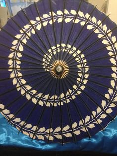 Vintage Japanese Parasol - Blue Wisteria Pattern