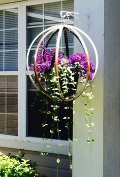 hanging plants diy outdoor 7565800724 - All For Herbs And Plants Wine Barrel Crafts, Wine Barrel Rings, Wine Barrels, Wine Barrel Planter, Hanging Plants Outdoor, Hanging Planters, Wine Barrel Furniture, Barrel Projects, Metal Barrel