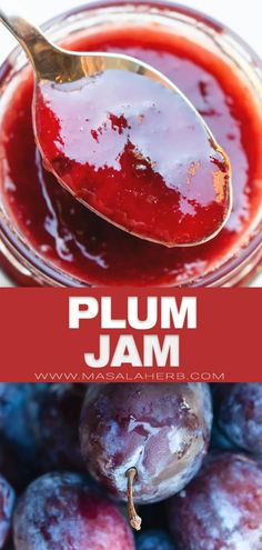 Plum Jam Recipe - How to make plum fruit preserve from scratch at home without artificial ingredients and pectin. Make with red or yellow plums, spice it up your way and learn some canning tricks. Quick and easy DIY recipe for your breakfast bread slice. www.MasalaHerb.com Plum Pie Recipe, Plum Jam Recipes, Diy Recipe, Jelly Recipes, Fruit Recipes, Plum Fruit, Fruit Jam, Jam Recipe Without Pectin, Pear Preserves