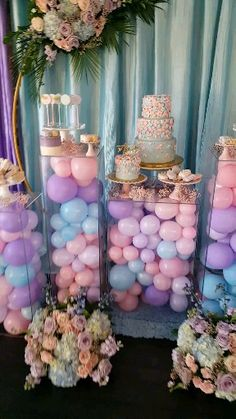Pastels and Butterflies Birthday Party in Orlando., Blue, Pink and Lavender pastel colors birthday party in Orlando. Floral Decor back drop with acrylic columns filled with balloons. Cake and dessert display. Deco Baby Shower, Baby Girl Shower Themes, Girl Baby Shower Decorations, Balloon Decorations Party, Birthday Cake Table Decorations, Baby Shower For Girls, Sweet 16 Party Decorations, Unicorn Birthday Decorations, Quince Decorations