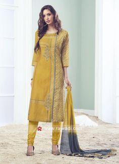 Picture of Appealing yellow designer straight suit Salwar Designs, Kurti Neck Designs, Dress Neck Designs, Fancy Blouse Designs, Stylish Dress Designs, Kurta Designs Women, Kurti Designs Party Wear, New Dress Design Indian, Dress Indian Style