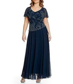 Jkara Plus Short-Sleeve Floral-Beaded Gown