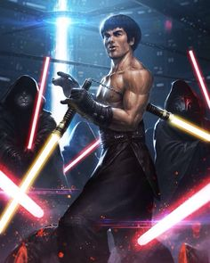 Master Jedi Lee wielding is Nunchuck Saber by Albert Ameen
