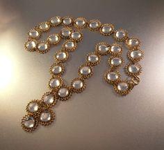 Vintage Bib Necklace Art Deco Glass Cabochon by LynnHislopJewels