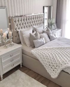 Cozy Home Decorating Ideas for Girls Bedroom – Isabelle Style – Shannon – Elegant Stylish Bedroom, Cozy Bedroom, Dream Bedroom, Home Decor Bedroom, Modern Bedroom, Girls Bedroom, Bedroom Romantic, Mirror Bedroom, Bedroom Furniture