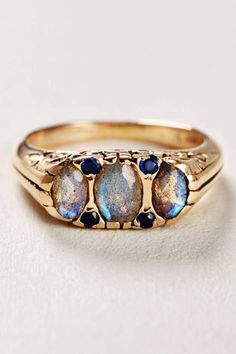 Labradorite and Sapphire Ring in 14k Rose Gold by Arik Kastan | Pinned by topista.com