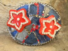 Feeling Patriotic !!  Step Originals Mosaic Sea Glass Belt Buckle