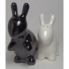 Bunny Rabbit Salt & Pepper Shaker Set, Black and White By 180 Degrees