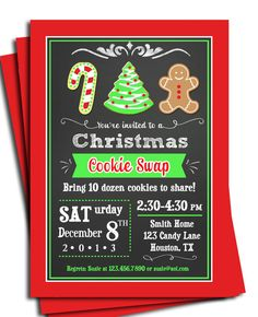 Christmas Cookie Invitation Printable  Cookie by ThatPartyChick, $15.00