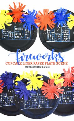 With our Paper Plate Cupcake Liner Fireworks Craft you'll be ready for fireworks season with your own scene of cupcake liner fireworks high up in the sky! Paper Plate Crafts, Paper Plates, Diy Projects For Kids, Crafts For Kids, Independence Day Activities, Fireworks Craft, Easy Arts And Crafts, Patriotic Crafts, Cupcake Liners